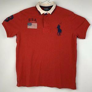 VTG 90's Polo Ralph Lauren USA Flag Polo Shirt